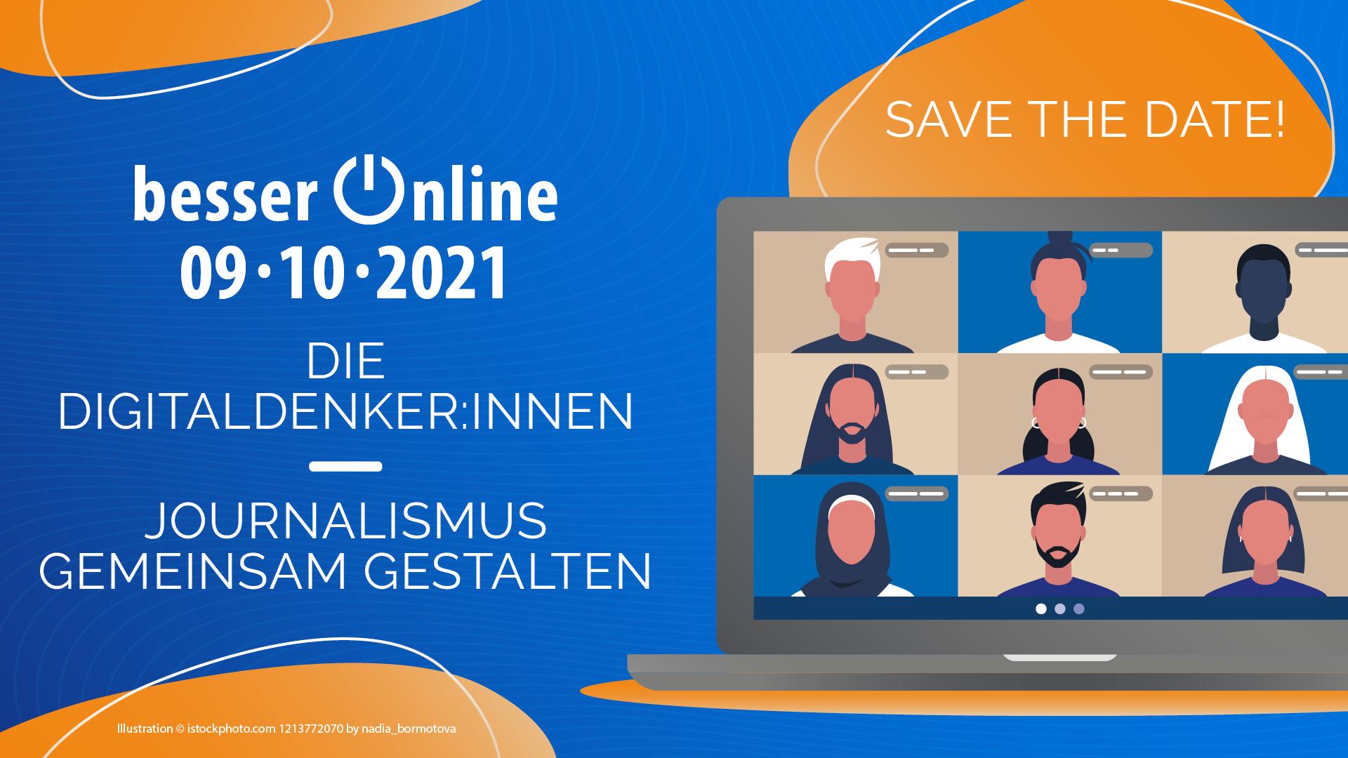 Startseite von Besser-Online 2021: Slogan des Digitalkongresses des Deutschen Journalistenverbandes lautet: Die Digitaldenker:innen