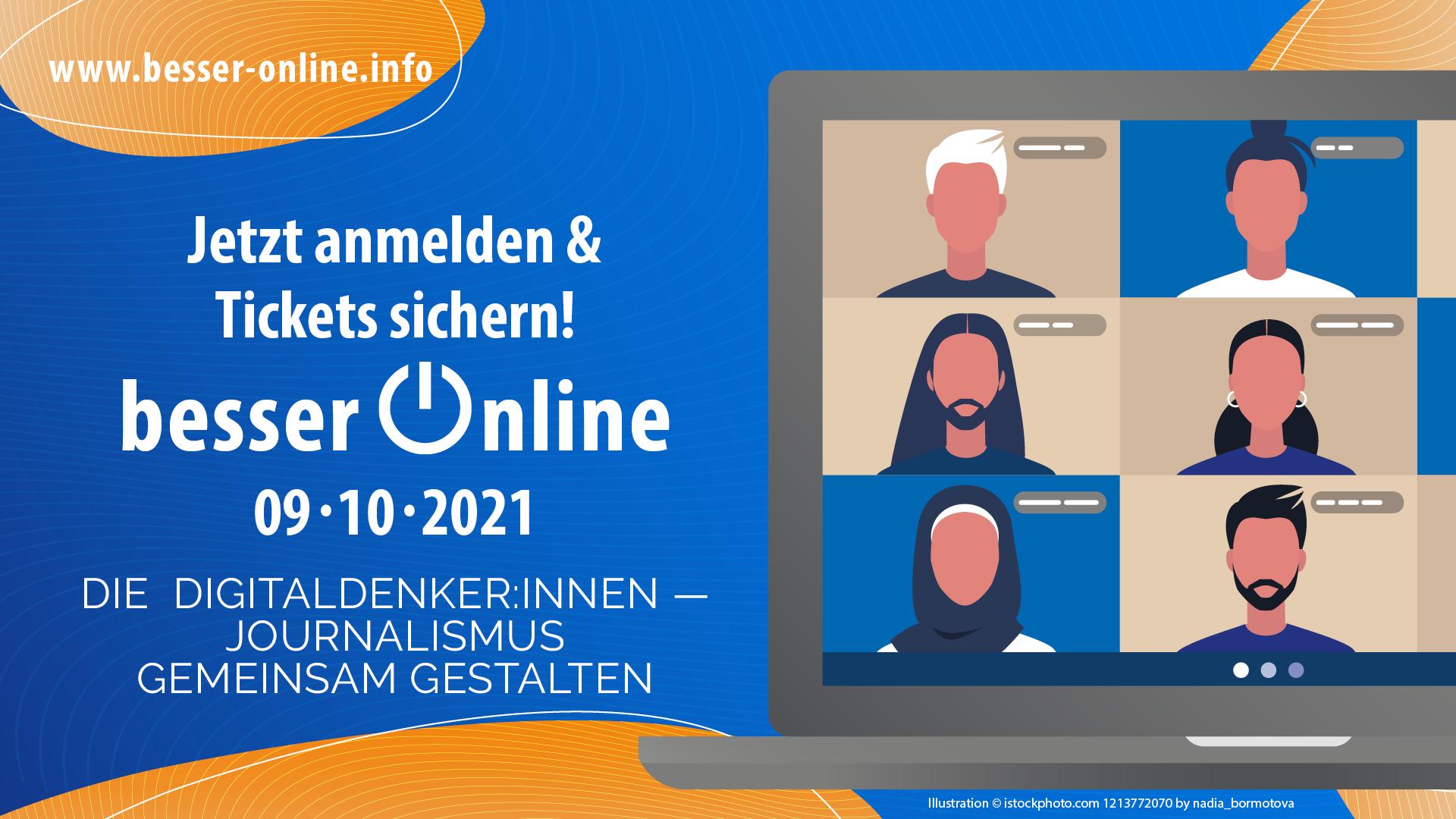 Besser Online 2021 - Die Online-Konferenz des DJV am 9. Oktober 2021   Besser Online 2021   Die Digital Denker:innen - Journalismus gemeinsam gestalten - Jetzt Tickets sichern!